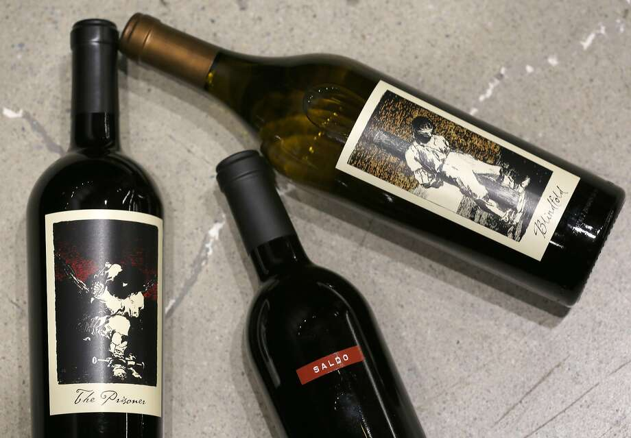 Three of Prisoner's brands: the Prisoner Zinfandel-based blend (left), Saldo Zinfandel and Chardonnay blend Blindfold. Photo: Liz Hafalia, The Chronicle