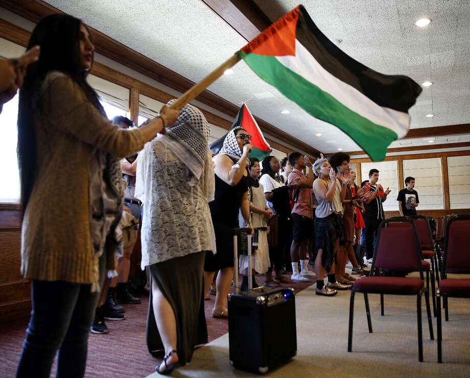 Students from the General Union of Palestine Students and other organizations protest mayor of Jerusalem Nir Barkat's speech at Seven Hills Conference Center on San Francisco State University campus in San Francisco, California, on Wednesday, April 6, 2016. Photo: Connor Radnovich, The Chronicle