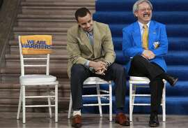 San Francisco Mayor Ed Lee, shares a laugh with Golden State Warriors star Stephen Curry at City Hall in San Francisco, Calif. on Tues. May 21, 2013. Mayor Ed Lee later presented Warriors star player Stephen Curry with a key to the city in celebration of the amazing season the basketball team had.