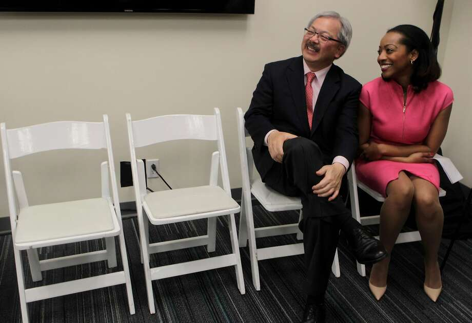 Mayor Ed Lee and Supervisor Malia Cohen were together at the opening of the Bayview Child Health Center in 2014 and they're together on the cannabis moratorium. Photo: Paul Chinn, The Chronicle