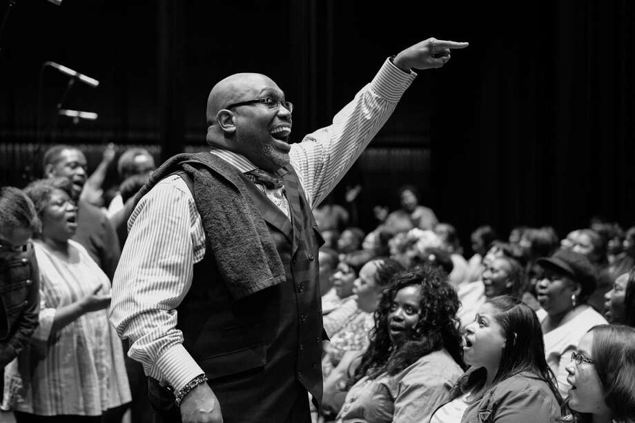 The Rev. Elgin Joseph Taylor Sr., musical director, at Gospel Jubilee rehearsal with choir members from area churches at the Macedonial Baptist Church in Albany. The fifth annual event is April 22 at Proctors in Schenectady. (Richard Lovrich photo)
