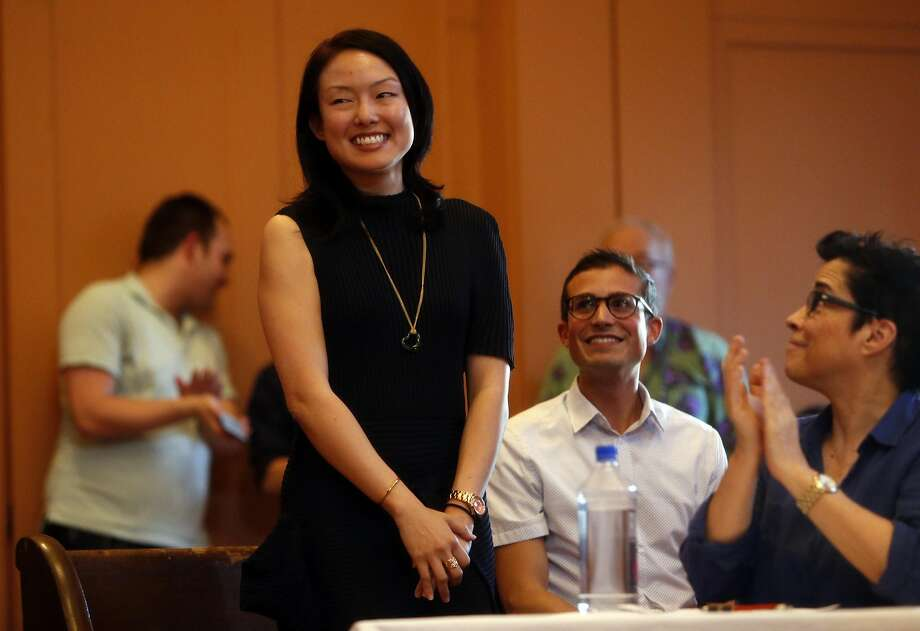 Jane Kim is introduced at the start of her District 11 State Senatorial debate with Scott Wiener at Congregation Sha'ar Zahav in San Francisco, Calif., on Wednesday, April 6, 2016. Photo: Scott Strazzante, The Chronicle