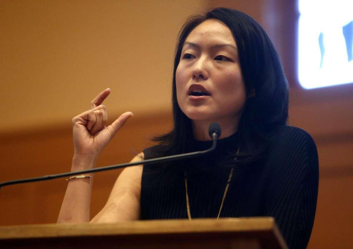 Jane Kim during District 11 State Senatorial debate at Congregation Sha'ar Zahav in San Francisco, Calif., on Wednesday, April 6, 2016.