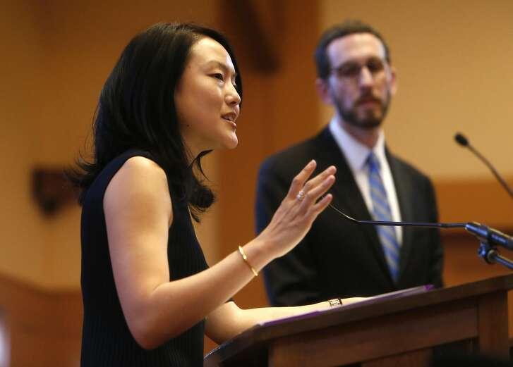 Jane Kim speaks during her District 11 State Senatorial debate with Scott Wiener at Congregation Sha'ar Zahav in San Francisco, Calif., on Wednesday, April 6, 2016.