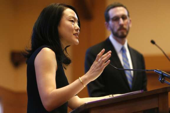 Jane Kim speaks during her District 11 State Senatorial debate with Scott Wiener at Congregation Sha'ar Zahav in San Francisco, Calif., on Wednesday, April 6, 2016.