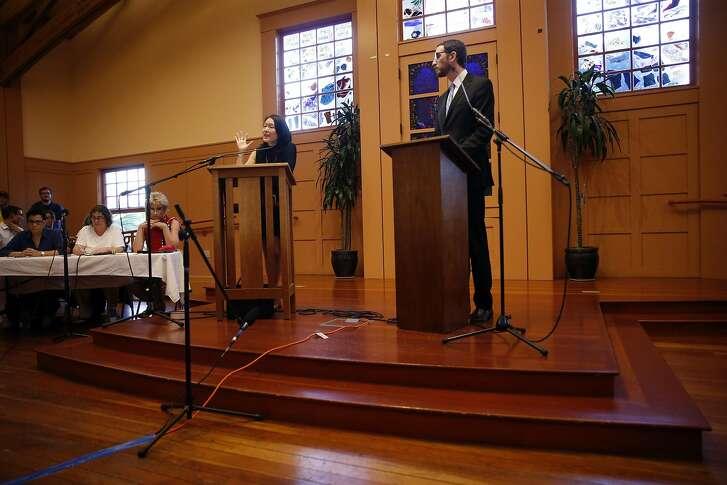 Jane Kim  and Scott Wiener during District 11 State Senatorial debate at Congregation Sha'ar Zahav in San Francisco, Calif., on Wednesday, April 6, 2016.