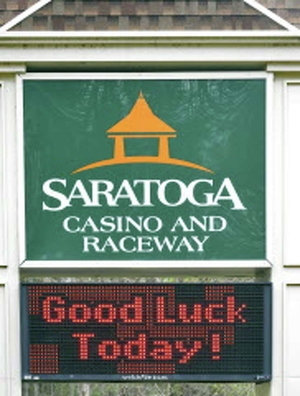 Sign at an entrance to Saratoga Casino and Raceway Tuesday April 22, 2014, in Saratoga Springs, NY. (John Carl D'Annibale / Times Union)