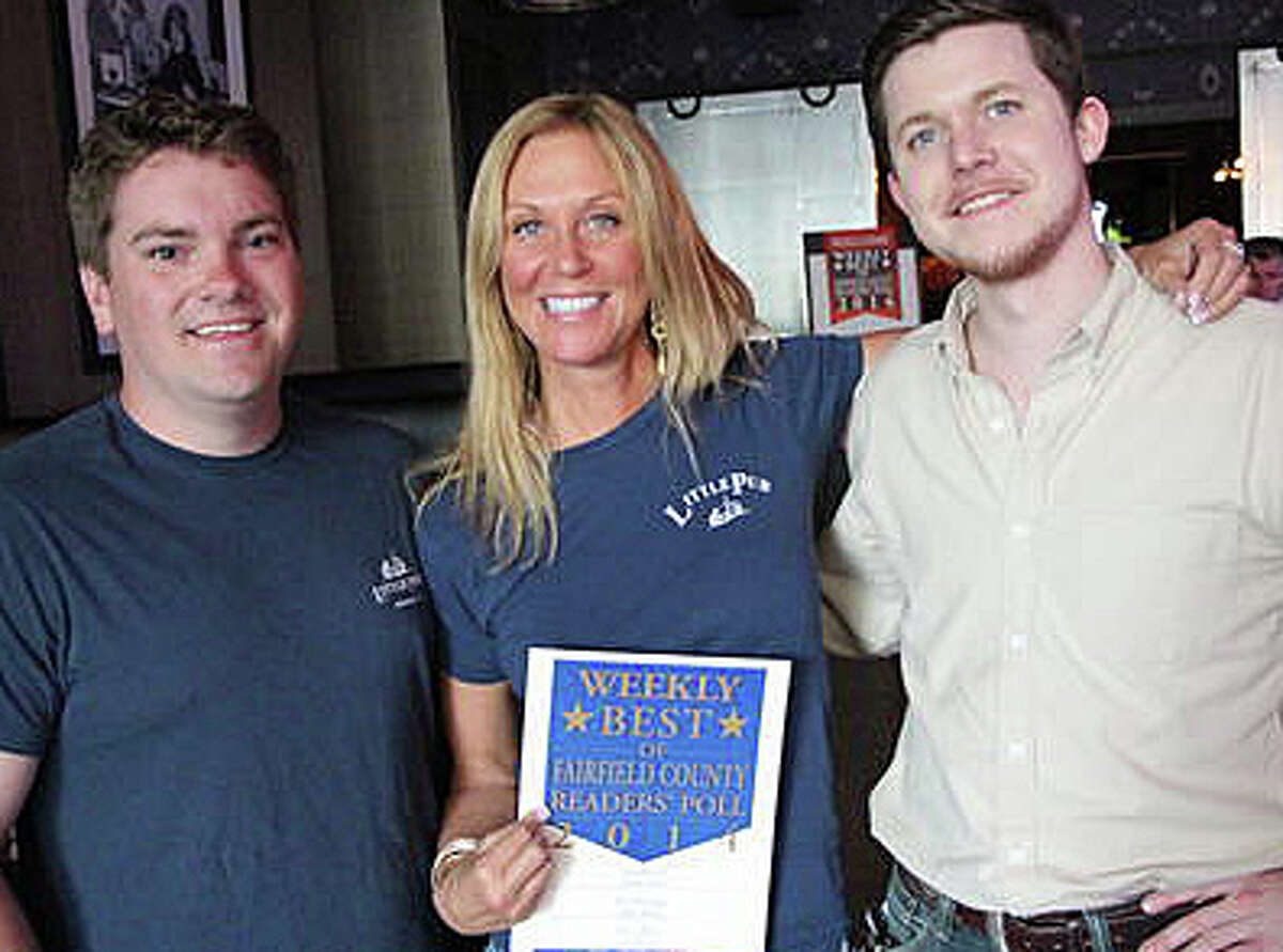 """""""Little pub"""" management team includes, from left, Lars Anderson of Fairfield, operations manager; owner Daneen Grabe, of Fairfield, and Devin O'Keefe."""
