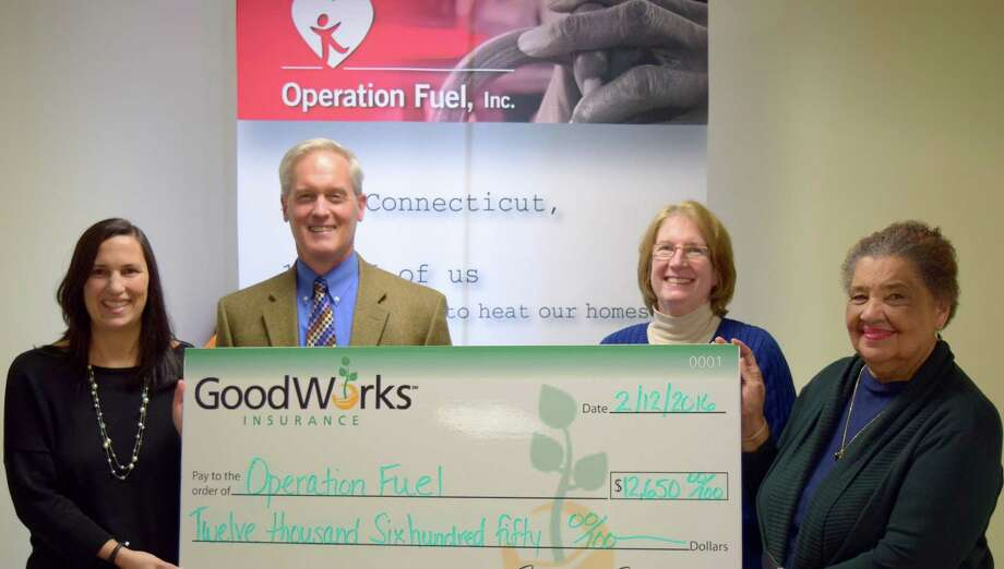 GoodWorks Insurance, which has an office in New Milford, recently donated $12,650 to Operation Fuel as part of a collaboration with the Connecticut Energy Marketers Association (CEMA), which donated $2,650, for a total donation of $15,300. Pictured from left are, Operation Fuel's Director of Development Kim O'Brien Green, GoodWorks Senior Vice President Curt Johnson, Nancy Bulkeley, chairperson of Operation Fuels board and Senior Community Affairs Representative for Dominion Resources, and Operation Fuels Executive Director Patricia Wrice. Photo: Courtesy Of GoodWorks Insurance / The News-Times Contributed