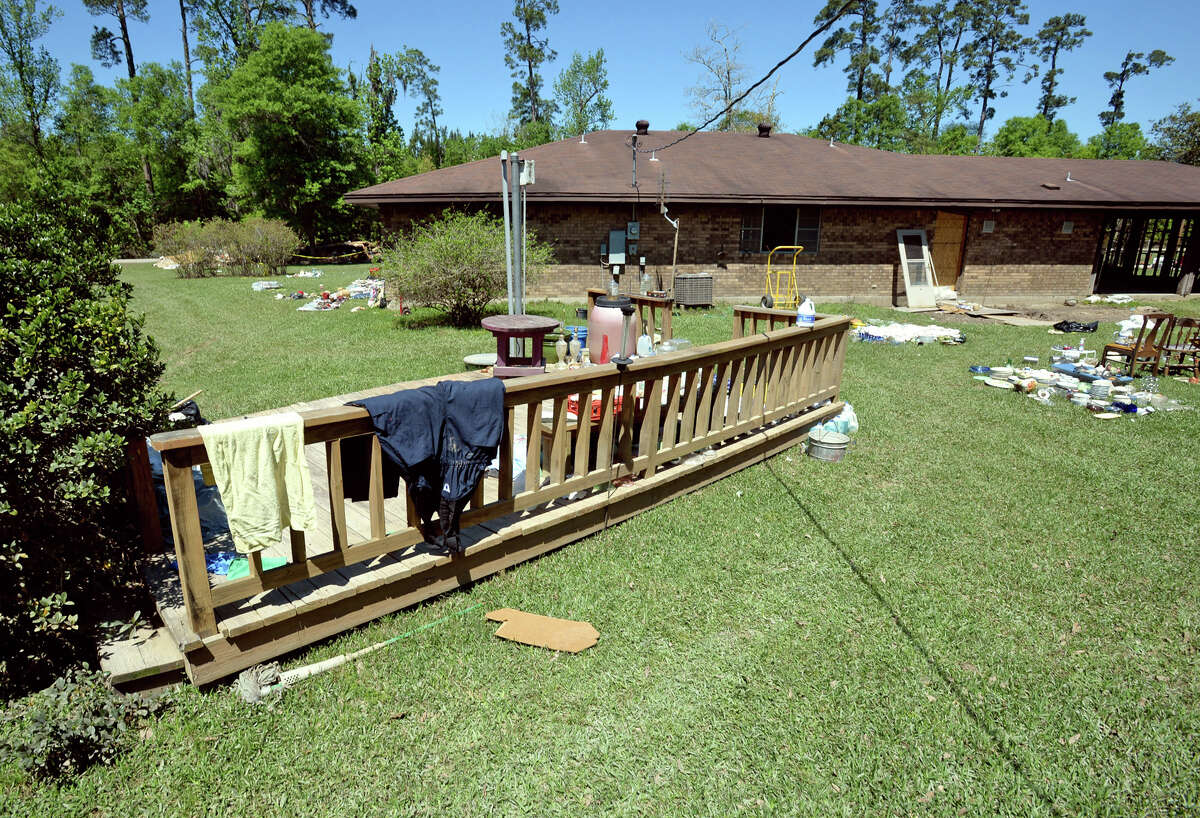 Floodwaters floated Margaret West's back porch dozens of feet from the back of her Deweyville home. Photo taken Monday, April 04, 2016 Guiseppe Barranco/The Enterprise