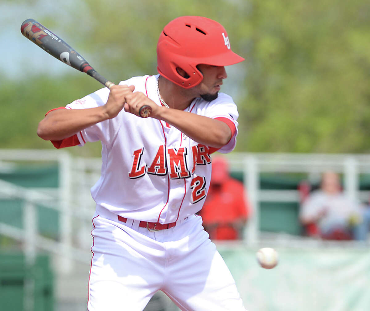 See the opponents Lamar baseball has defeated to attain their nation-best winning streak in the following slides.  Lamar's Gavin Tristan lets the ball pass while taking his turn at bat as the Cardinals battle with Nicholls during their April 6 game.