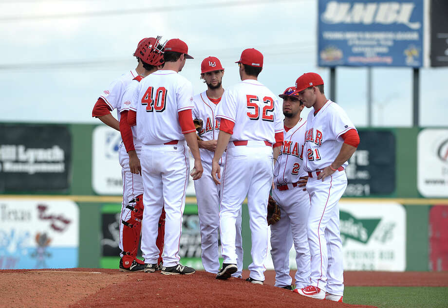 Lamar's infield convene as a pitching change is announced as the Cardinals battle with Nicholls during Wednesday's home game. Photo taken Wednesday, April 6, 2016 Kim Brent/The Enterprise Photo: Kim Brent / Beaumont Enterprise