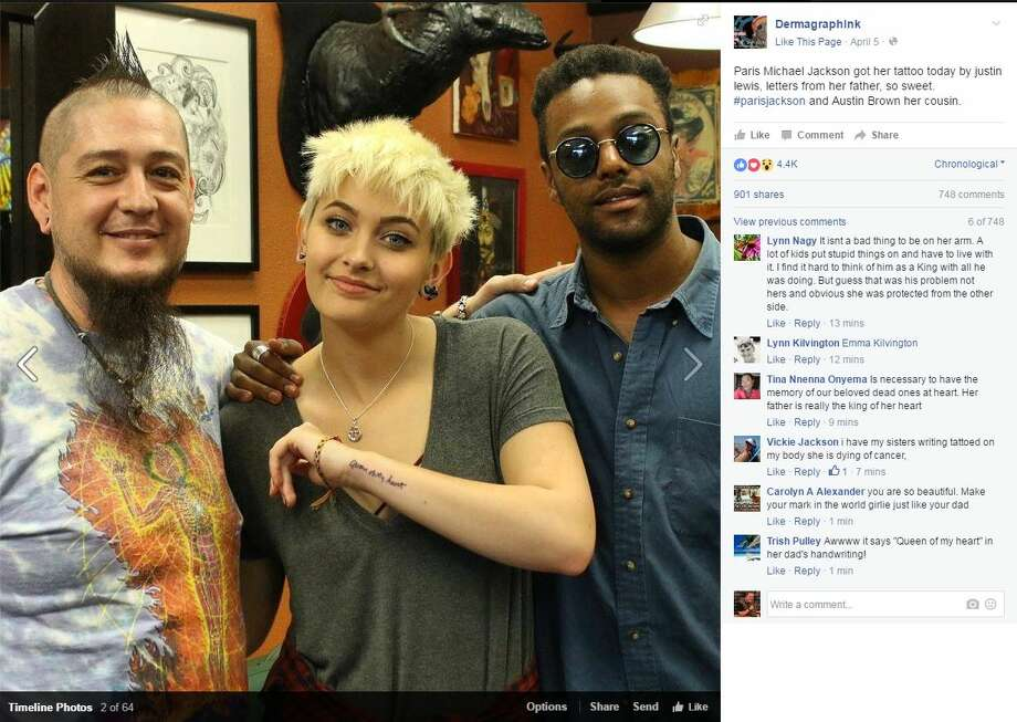Paris Jackson, 18, got a tattoo with her father Michael Jackson's handwriting on her arm.