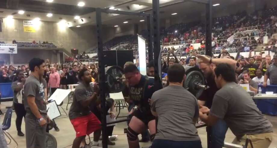 Joseph Pena, 17-year-old Holy Cross high school student, squatting 930 pounds at the Texas High School Powerlifting Association meet in Abilene on April 2, 2016.