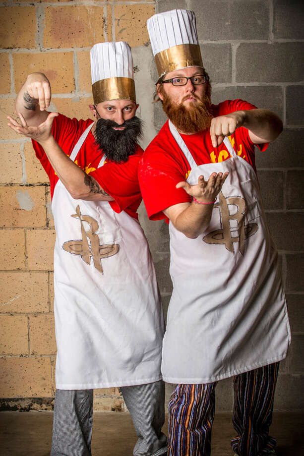 """They're known as the 'Clutch City Chefs,' and one of them wears a strap-on beard because his comes in patchy."" -- Ray ReddingDavid and Barry Stagg shot by Ray Redding for his exhibit, ""Houston Hair-raisers."""