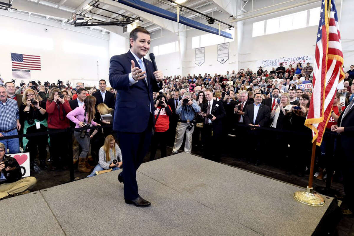 Republican presidential candidate Sen. Ted Cruz greets supporters Thursday at Mekeel Christian Academy in Scotia. (Skip Dickstein/Times Union)