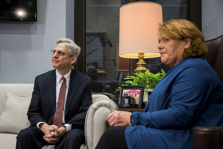 Merrick Garland, President Obama's Supreme Court nominee, meets with Sen. Heidi Heitkamp, D-N.D. Republicans refuse to act on Garland's nomination. Photo: ZACH GIBSON, NYT