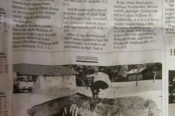 Hair's catfish catch was featured in a Brownwood newspaper.