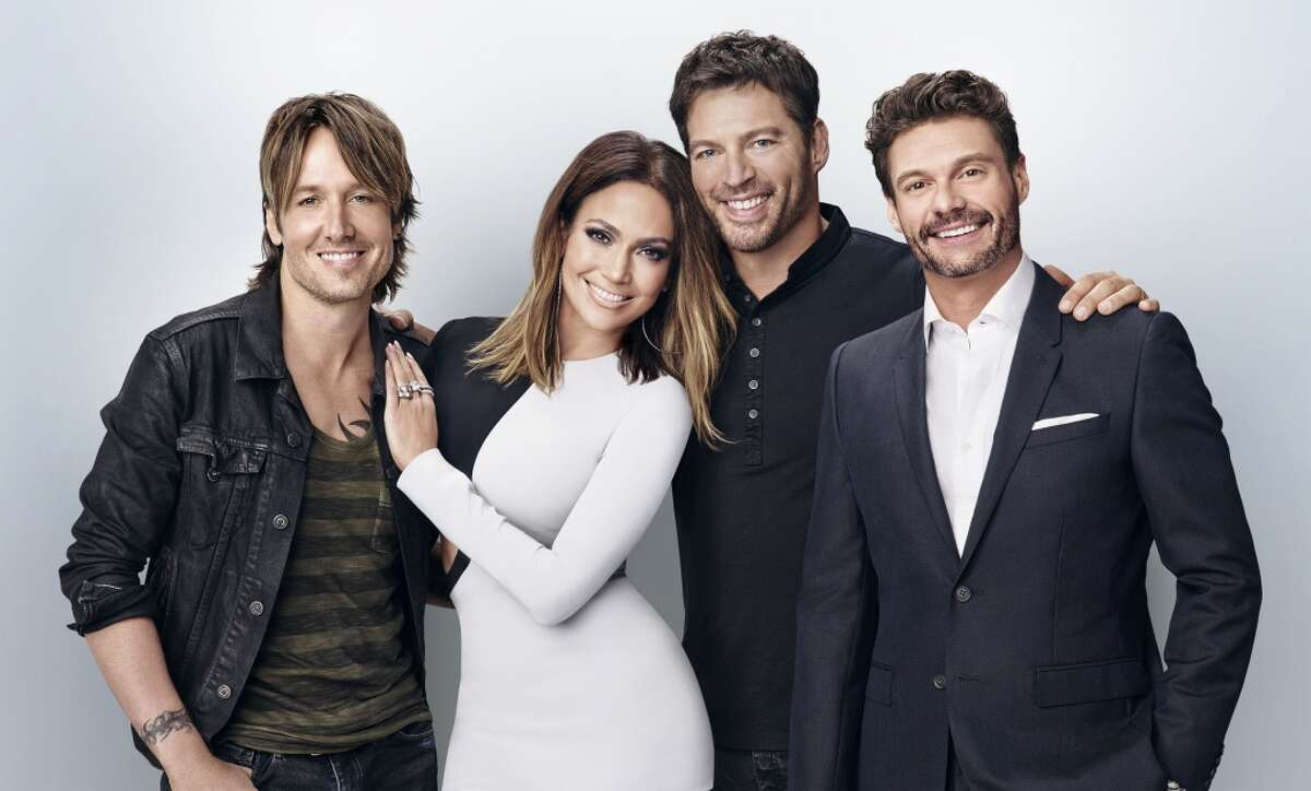 Judges Keith Urban, JLo, Harry Connick Jr. and host Ryan Seacrest.