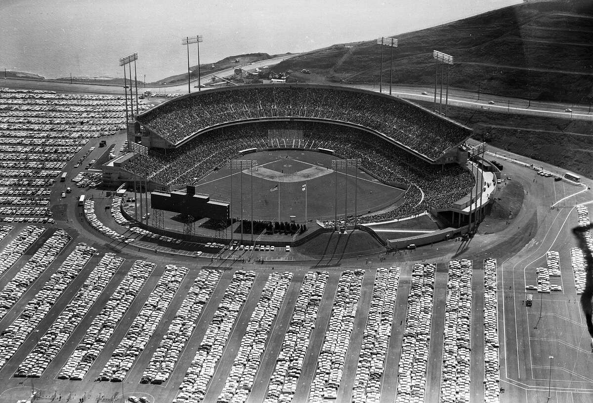 Opening day at Candlestick Park is seen in this aerial view on April 12, 1960, in San Francisco, Calif. 42,269 attended as the Giants beat the Cardinals 3-1.