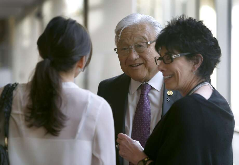 Rep. Mike Honda meets with Jodi Gerston (left) and her mother Jyl Jurman before hosting a roundtable discussion on ending sexual discrimination against transgender students in San Jose, Calif. on Thursday, April 7, 2016. Challenger Ro Khanna is hoping to unseat the incumbent Honda from California's 17th Congressional District. Photo: Paul Chinn, The Chronicle