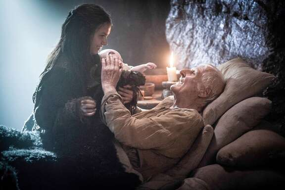 "Meanwhile, Sam gives Jon some dragonstone weapons, decides he wants to become a Maester, eulogizes Maester Aemon when he passes away, and with the help of Ghost, Jon's Direwolf, protects Gilly from two of his rapey Brothers. Later, he and Gilly get it on.   Episode 507: ""The Gift"""