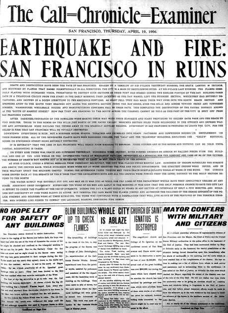 The Call-Chronicle's front page from April 19, 1906, covers the earthquake that devastated the Bay Area. Photo: Justin Beck
