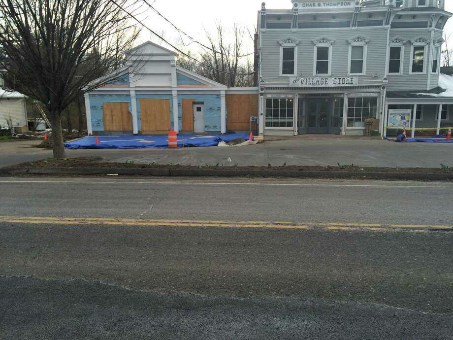 Work on the conversion of the former bank section of the Bridgewater Village Store is underway. April 6, 2016 Photo: / Susan Tuz, Staff Writer