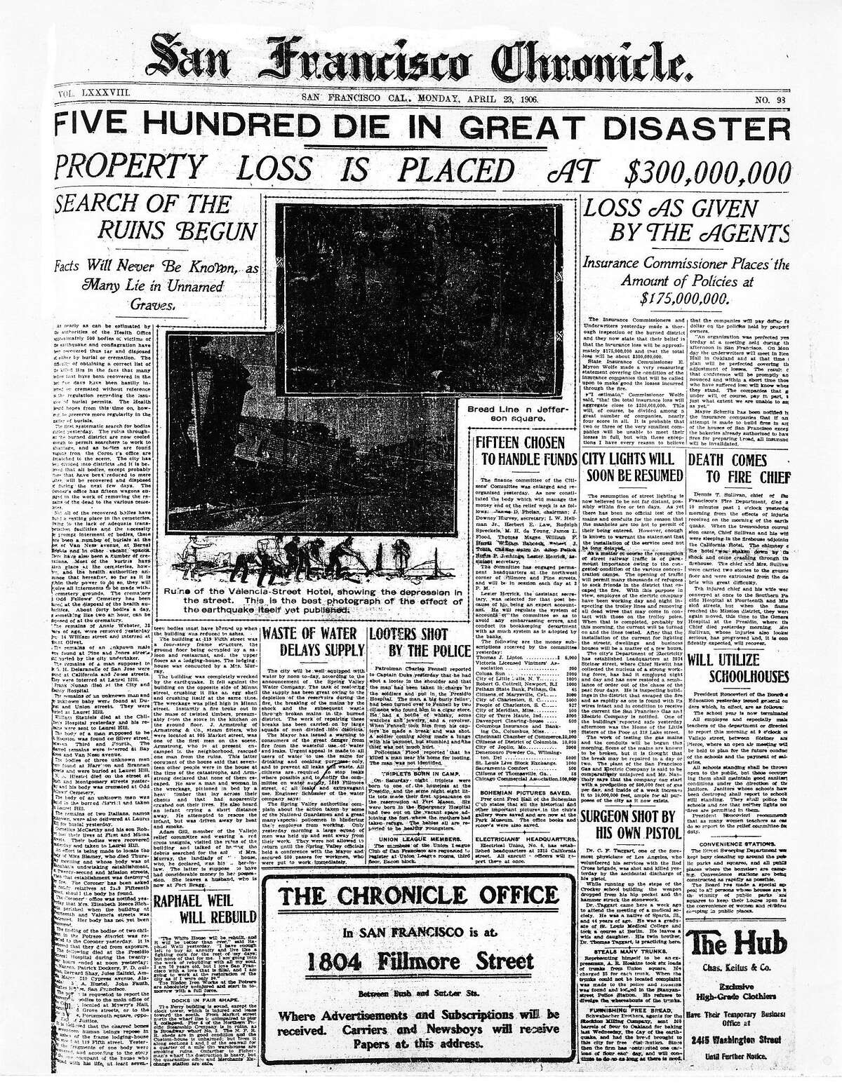 FRONT PAGE OF APRIL 23, 1906 paper .. assassing the damage and loss to the city.