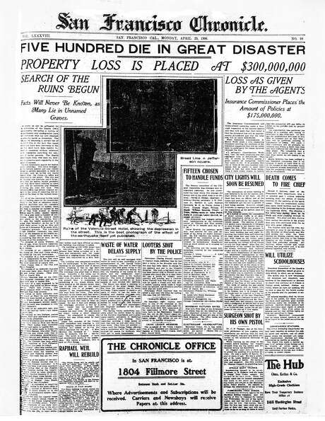 The Chronicle's front page from April 23, 1906, covers the damage caused by the great earthquake.