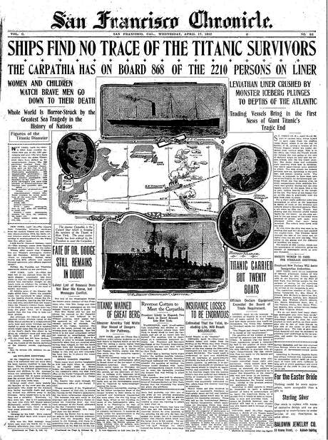 The Chronicle's front page from April 17, 1912, covers the second day of the Titanic search-and-rescue effort.