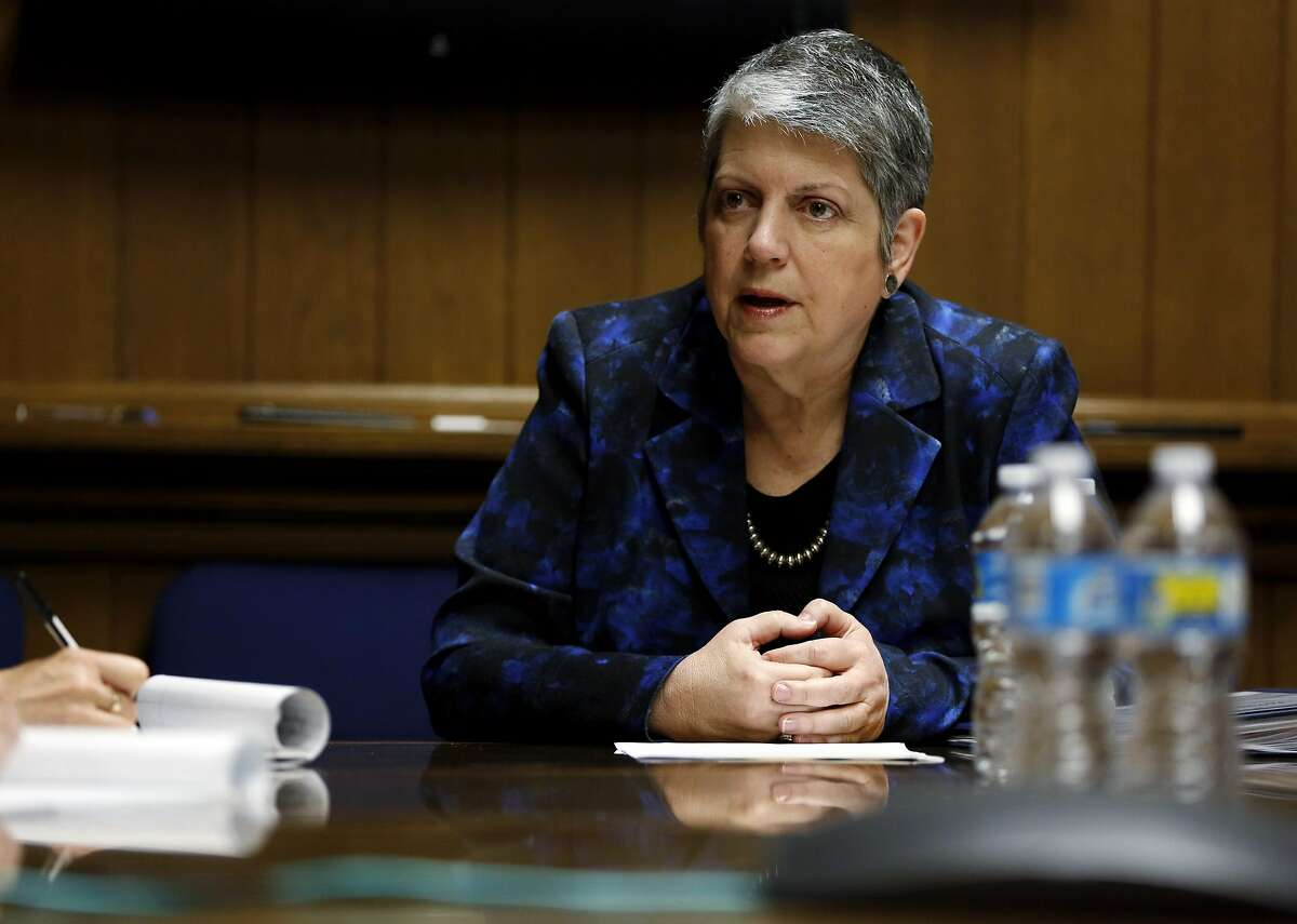 University of California President Janet Napolitano speaks to journalists from the San Francisco Chronicle at the Chronicle's office in San Francisco, California, on Thursday, April 7, 2016.