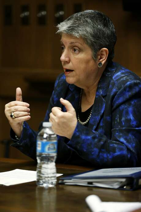 University of California President Janet Napolitano speaks to journalists from the San Francisco Chronicle at the Chronicle's office in San Francisco, California, on Thursday, April 7, 2016. Photo: Connor Radnovich, The Chronicle