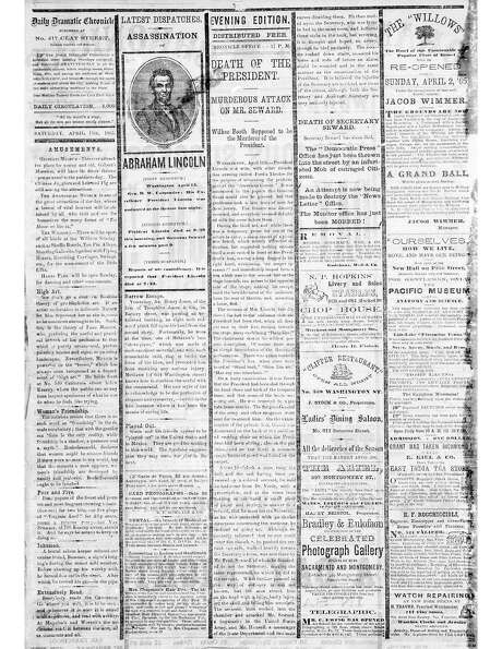 The Chronicle's front page from April 15, 1865, covers President Abraham Lincoln's assasination.