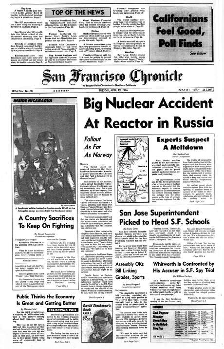 The Chronicle's front page from April 29, 1986, covers the Chernobyl Nuclear Power Plant disaster.