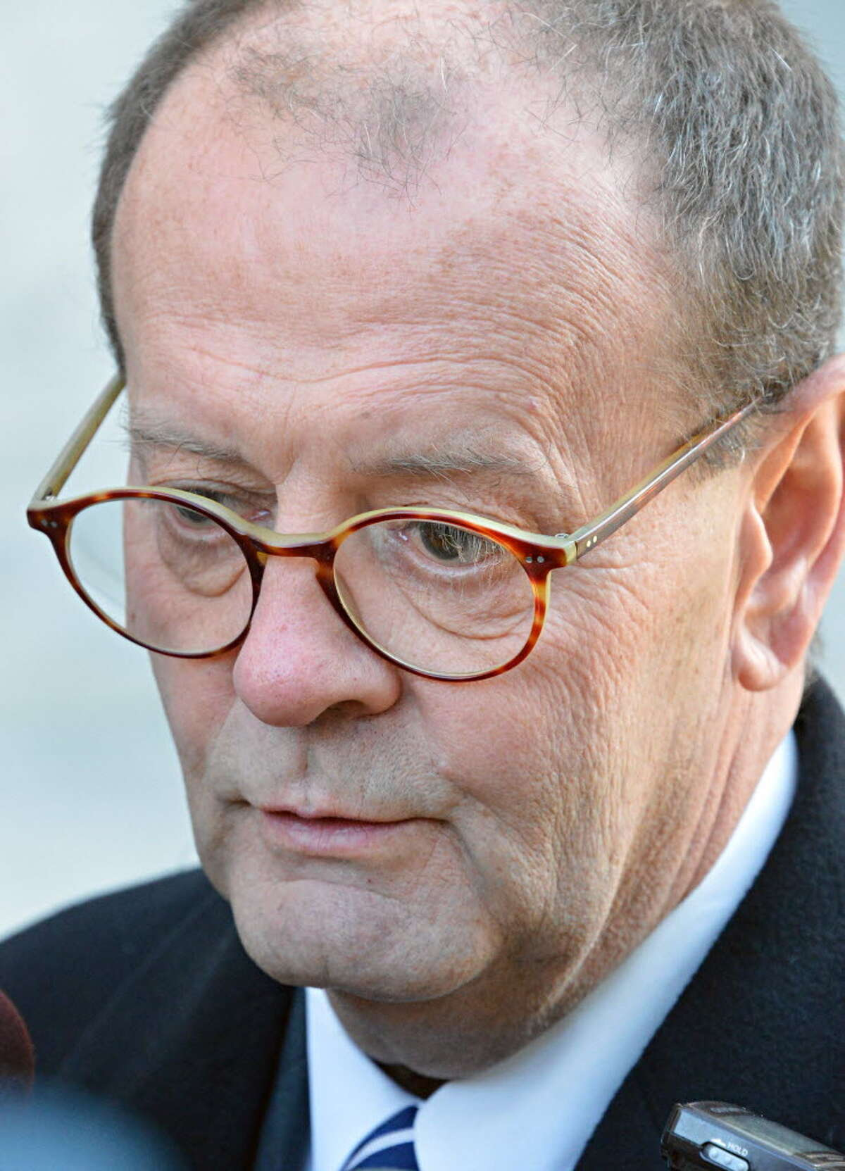 In this file photograph, James Long, defense attorney for Martin Kimber, the man facing domestic terrorism-related charges for smearing potentially deadly mercury around Albany Medical Center Hospital speaks to reporters outside U.S. District Court in Albany Thursday Nov. 29, 2012. (John Carl D'Annibale / Times Union) ORG XMIT: MER2016040610101803