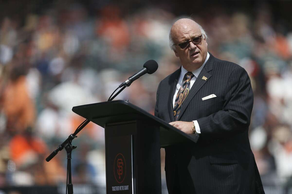 San Francisco Giants radio announcer Jon Miller introduces the team before the home opening game against the Los Angeles Dodgers on Thursday, April 7, 2016 in San Francisco, Calif.