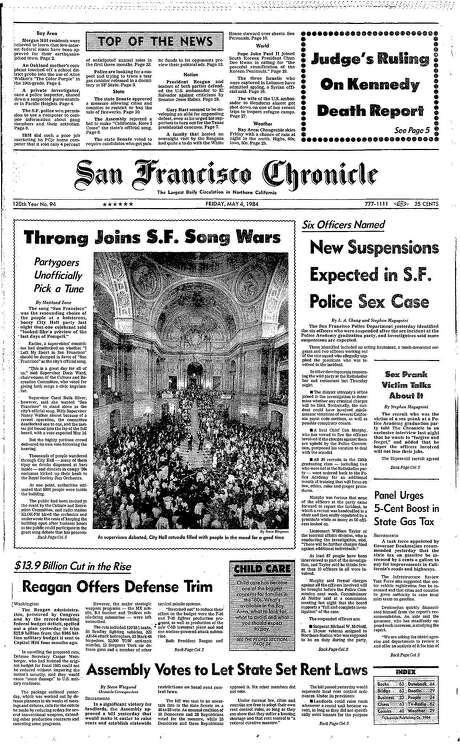 The Chronicle's front page from May 4, 1984, covers the competition for an official San Francisco song.