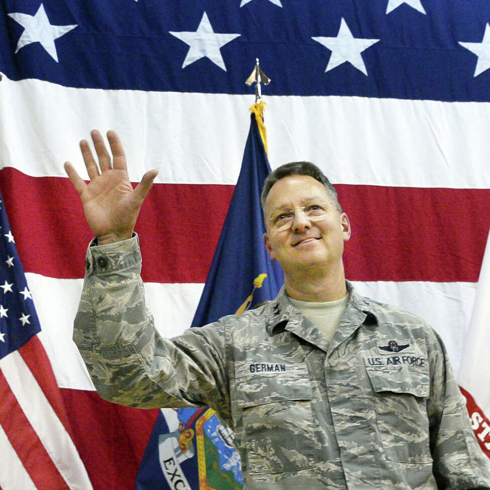 Major General Anthony German takes over as the 53rd Adjutant General of New York during a ceremony at the NYS Div. of Military and Naval Affairs Thursday April 7, 2016 in Colonie, NY. (John Carl D'Annibale / Times Union)