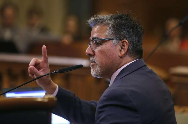 John Avalos chairs a Board of Supervisors public safety committee considering changes to the city's due process for all and sanctuary policies during a hearing at City Hall in San Francisco, Calif. on Thursday, April 7, 2016.