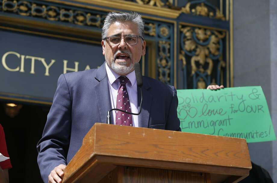 Supervisor John Avalos addresses community groups before a Board of Supervisors public safety committee considers changes to the city's immigration policies during a hearing at City Hall in San Francisco, Calif. on Thursday, April 7, 2016. Photo: Paul Chinn, The Chronicle