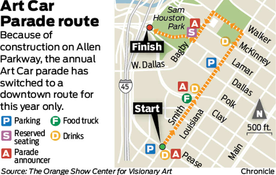Because of construction on Allen Parkway, the annual Art Car parade has switched to adowntown route forthis year only.