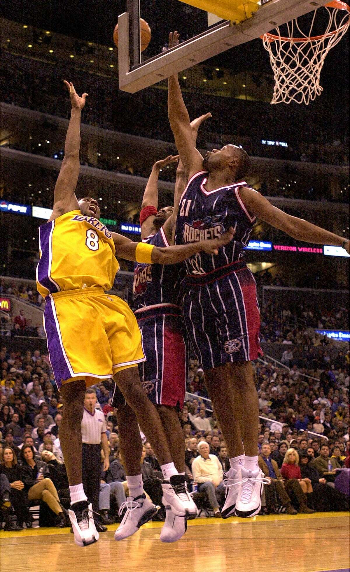Nov. 12, 2000: Lakers 105, Rocket 99 In the middle of the Lakers' three-peat, the Rockets held Shaquille O'Neal to just 14 points, but Bryant did it all with 37 points, 10 rebounds and three steals.