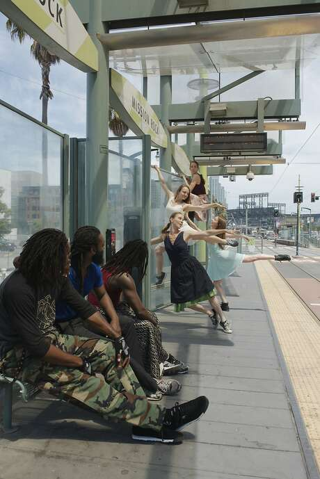 Dancers perform choreography by Kim Epifano on the Mission Bay Muni T Line, captured in a promotional image for the 2015 edition of Trolley Dances.  Photo by Andy Mogg Photo: Andy Mogg