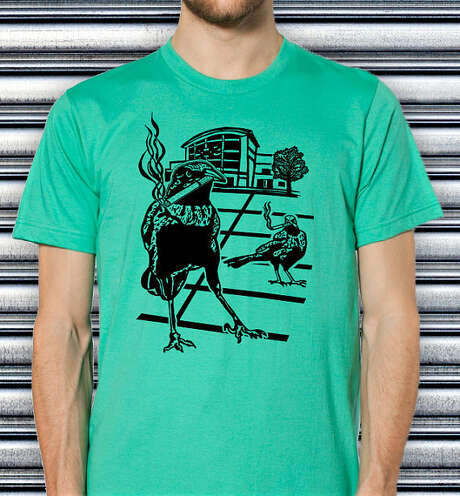 Grackles smoking in the H-E-B parking lot: A T-shirt from the Etsy store of Galloping Boy Designs. Photo: Louise Bova, Laughing Boy Designs