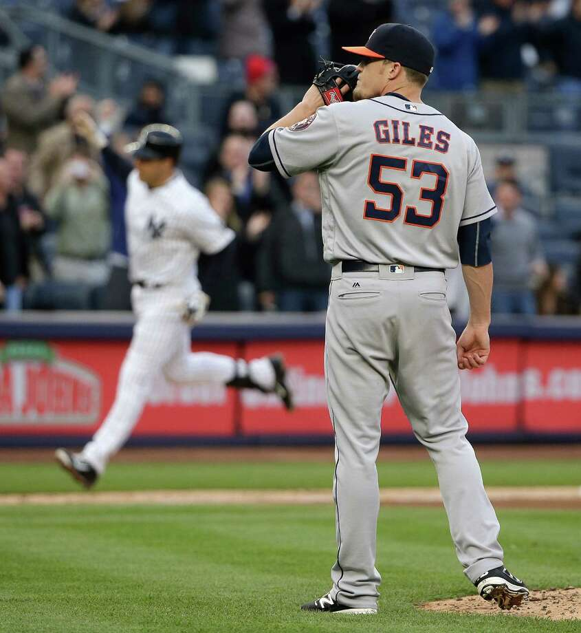 Houston Astros pitcher Ken Giles (53) reacts after giving up a 3-run home run to New York Yankees' Mark Teixeira, left, during the seventh inning of a baseball game, Thursday, April 7, 2016, in New York. Photo: Julie Jacobson, AP / Copyright 2016 The Associated Press. All rights reserved. This material may not be published, broadcast, rewritten or redistribu