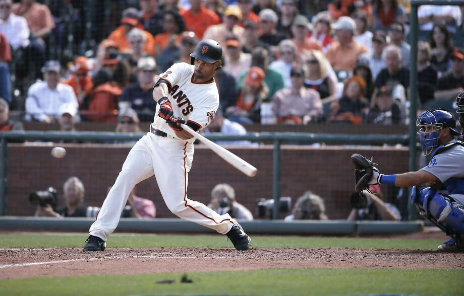 Giants' Angel Pagan, 16 singles to  right in the 6th inning, as the San Francisco Giants take on the Los Angeles Dodgers during their home opener of the 2016 MLB season, at AT&T Park in San Francisco, California on Thurs. April 7, 2016. Photo: Michael Macor, The Chronicle