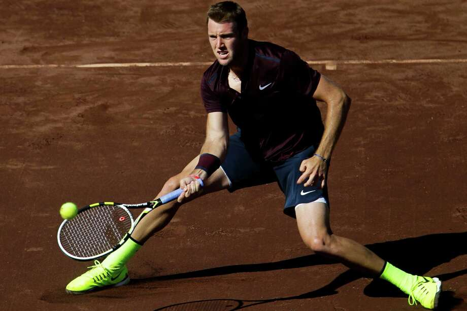 Jack Sock returns a shot to Matthew Barton in the second round of the US Men's Clay Court Championship at the River Oaks Country Club Thursday, April 7, 2016 in Houston. Sock beat Barton 6-2, 7-6(5). Photo: Michael Ciaglo, Houston Chronicle / © 2016  Houston Chronicle
