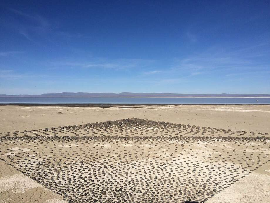 A creative resident at the Playa created this art installation many years ago near the shore of the alkaline lake east of the cabins. Photo: Caille Millner, The Chronicle