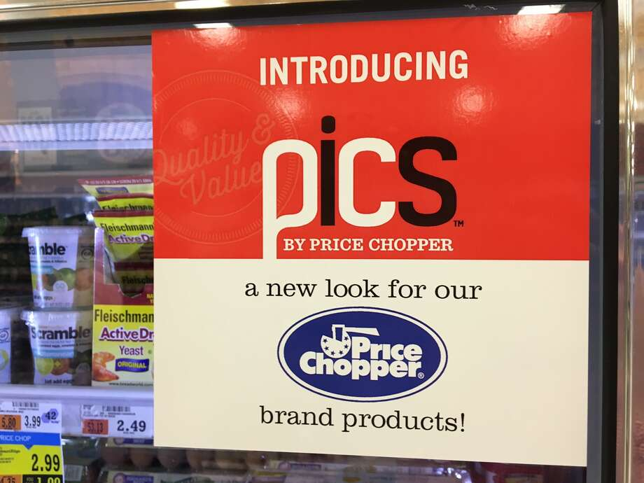 A sign in the Slingerlands Price Chopper on Wednesday alerting shoppers to Pics, the new house brand for the Schenectady based chain